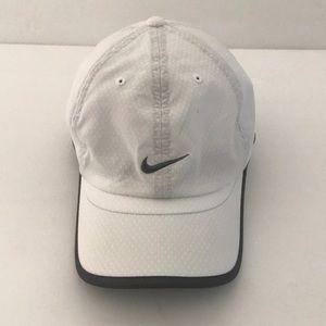 Nike Fit Dry Ladies Hat White w/dark gray trim